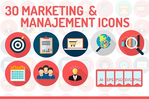 30 Marketing & Management Icons