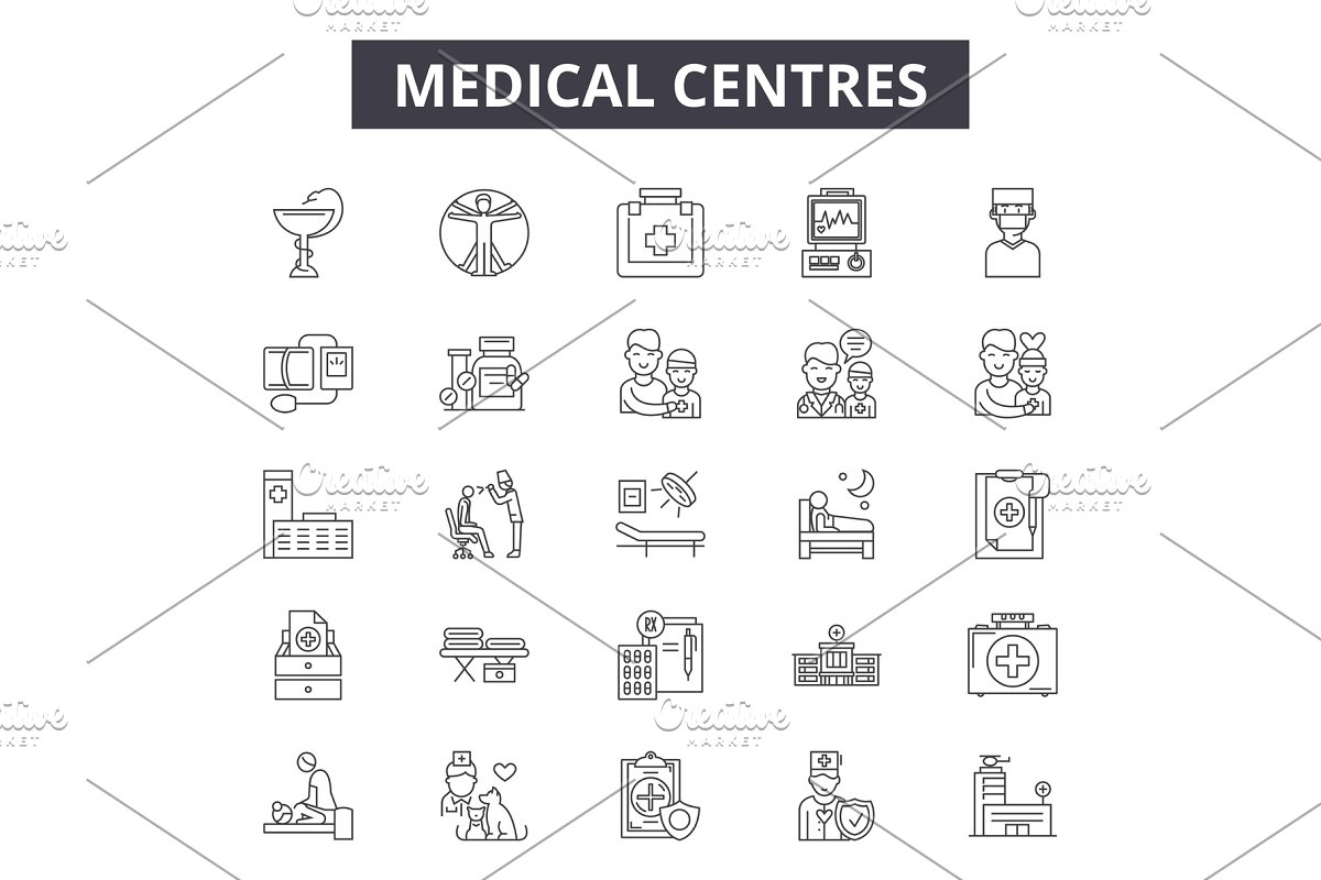 Medical centres line icons, signs