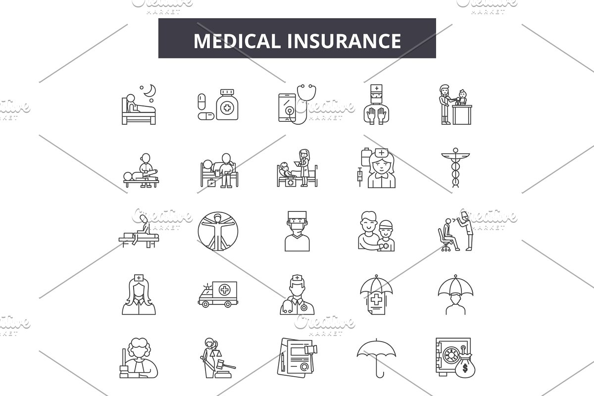 Medical insurance line icons, signs