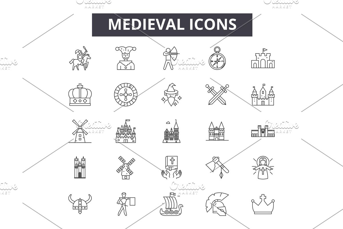 Medieval line icons, signs set