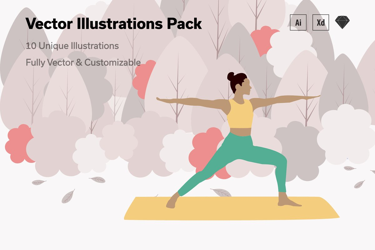 Yoga & Workout Vector Illustrations