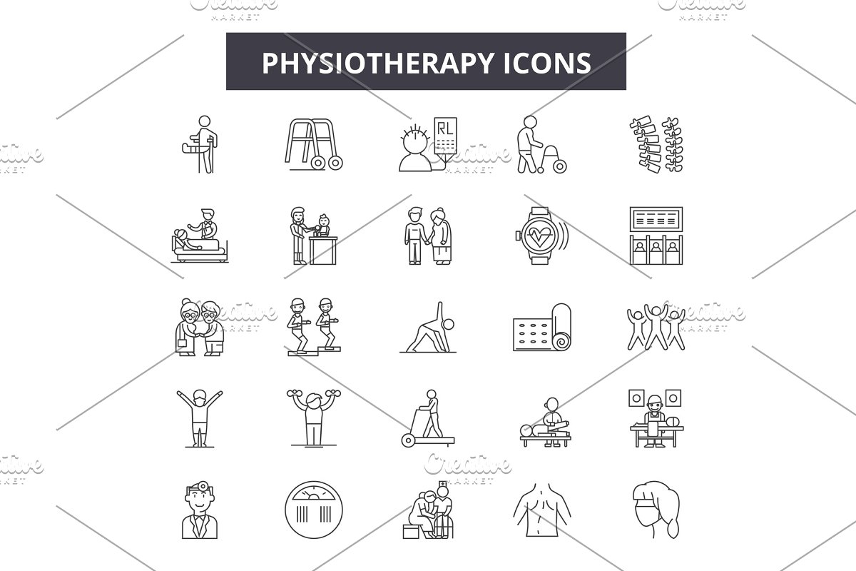 Physiotherapy line icons, signs set