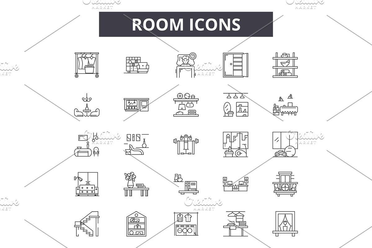 Room line icons, signs set, vector