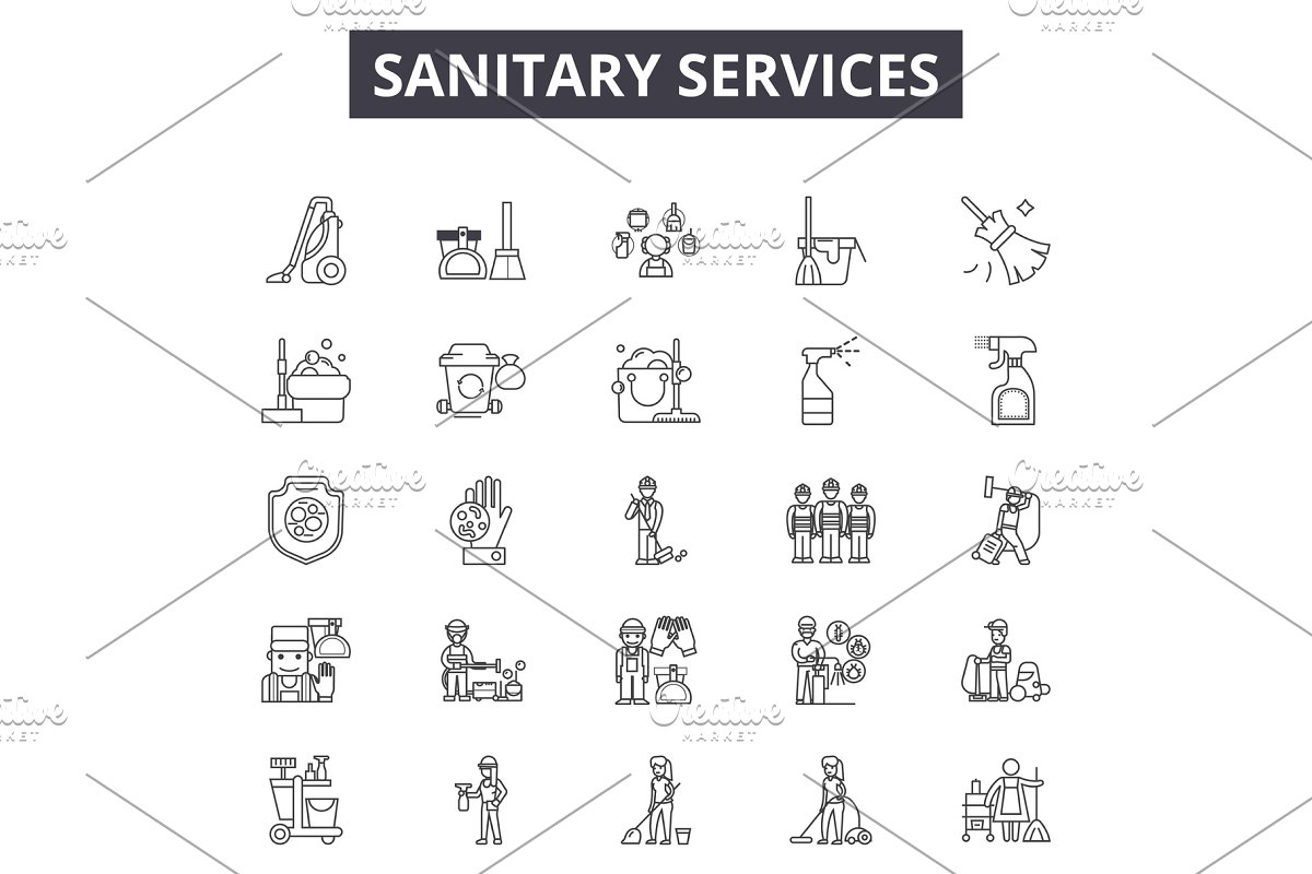 Sanitary services line icons, signs
