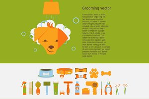 Pet grooming vector set