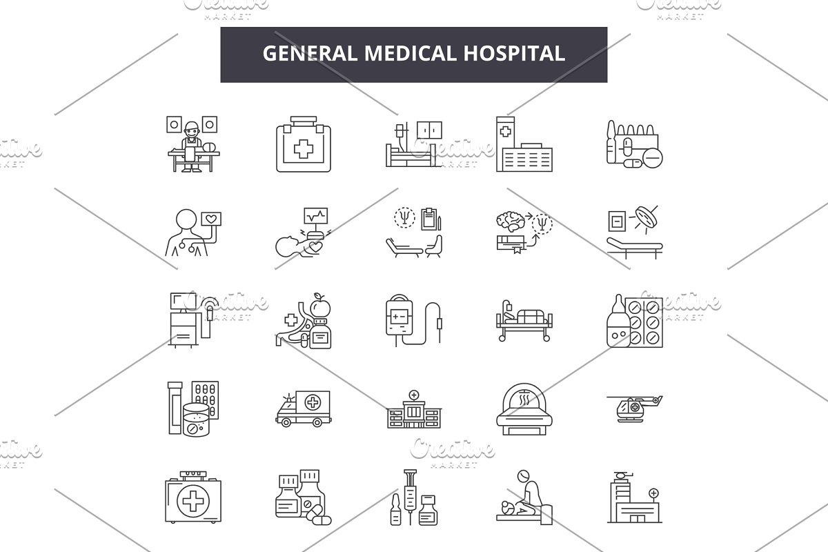 General medical hospital line icons