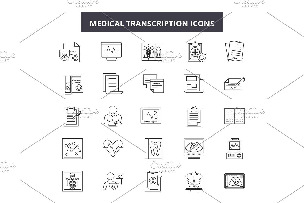 Medical transcription line icons