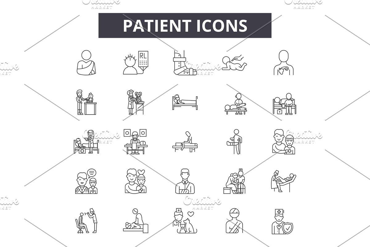 Patient line icons, signs set
