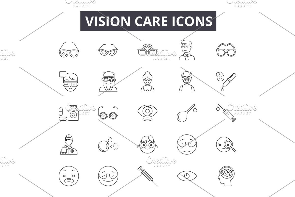 Vision care line icons, signs set