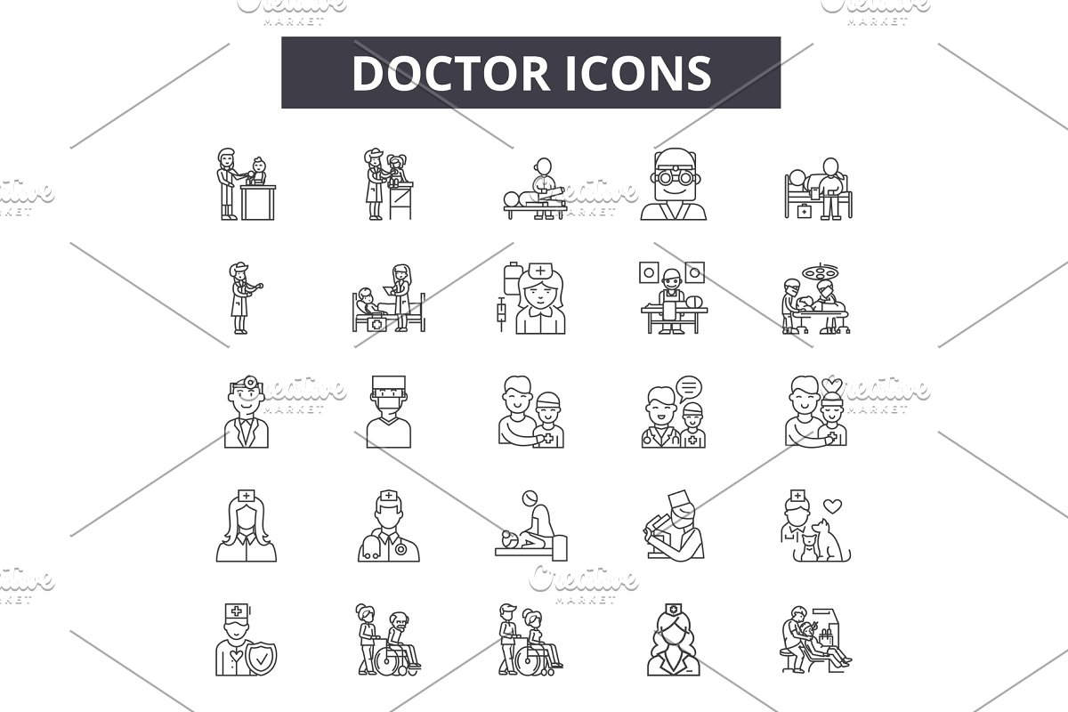 Doctor line icons, signs set, vector