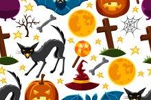 Happy halloween seamless patterns