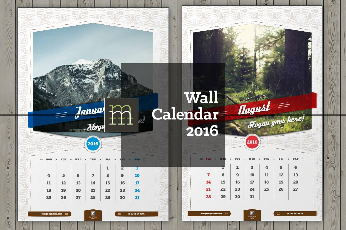 Calendar Typography S : Wall calendar wc stationery templates