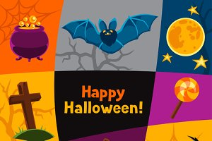 Happy halloween greeting cards.