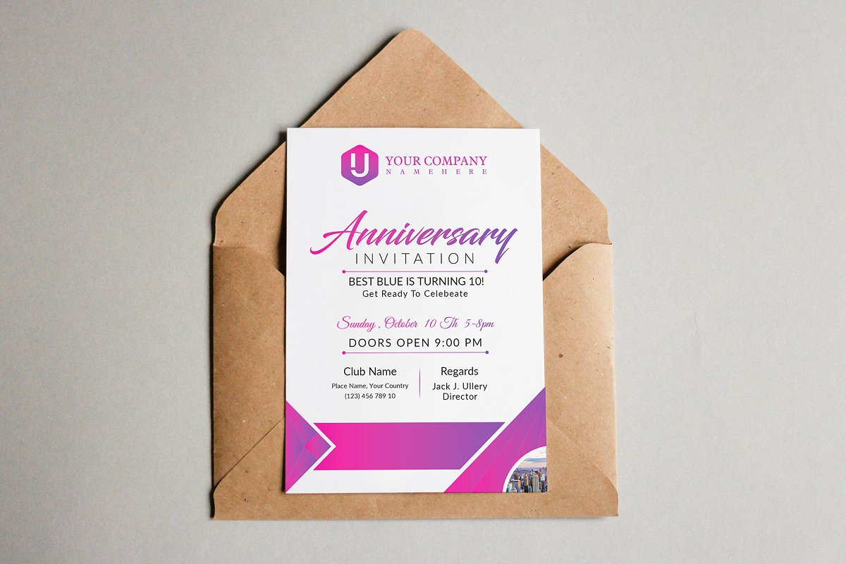 Anniversary Invitation Invitation Templates Creative Market