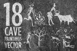 18 Cave Paintings Vector Set