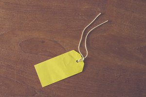 Yellow tag on table