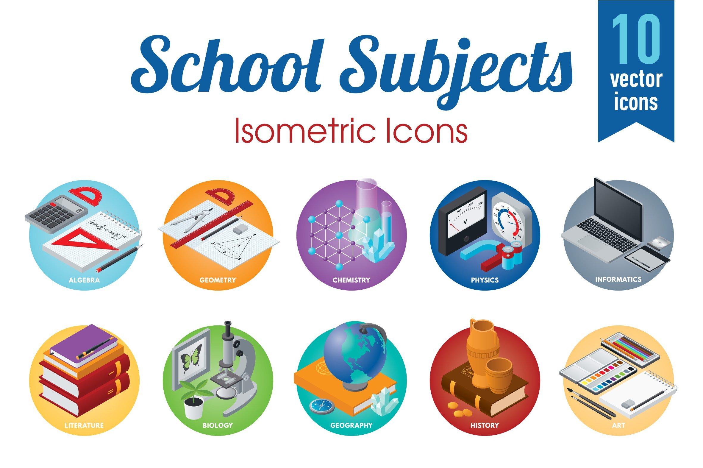 school subjects icons creative market