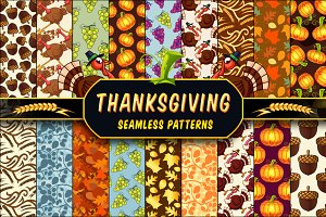 Thanksgiving Seamless Patterns Set
