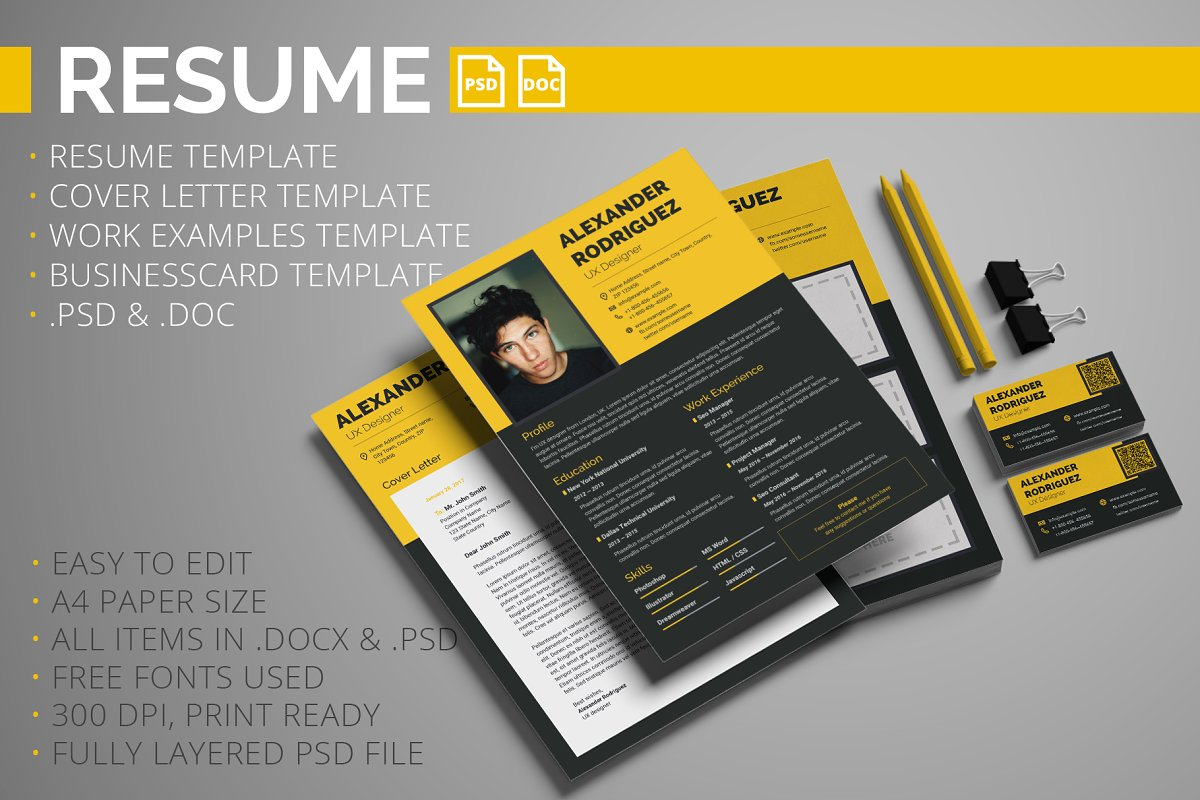 Resume, Cover letter, Work examples ~ Resume Templates ~ Creative Market