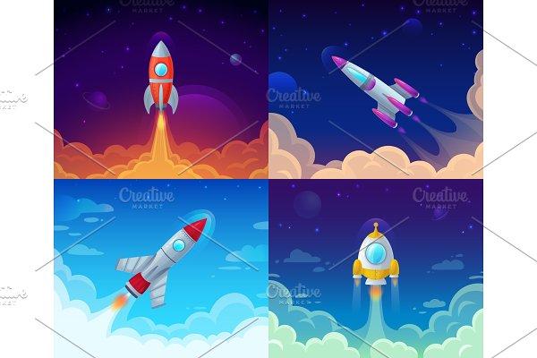 Space rocket launch mini Set ~ Illustrations ~ Creative Market