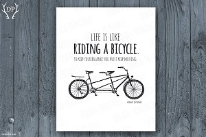 Life is like riding a bicycle print