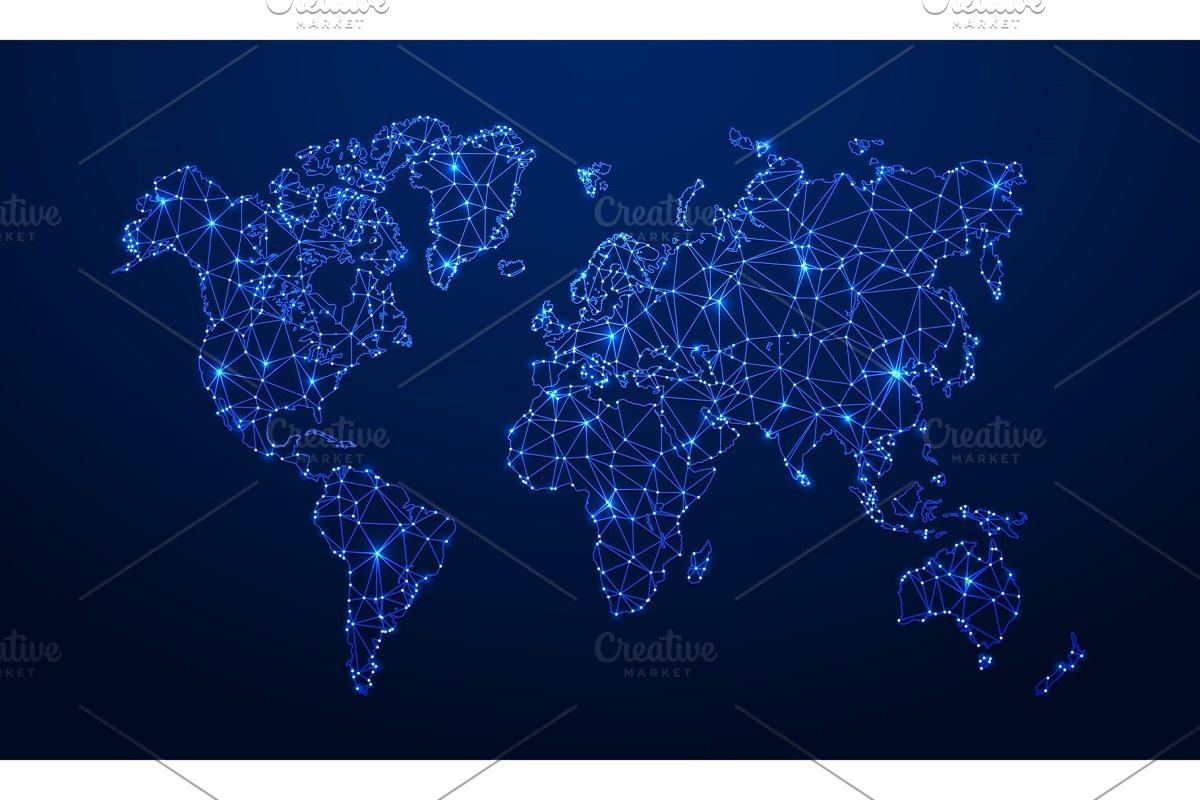 Polygonal map. Digital globe map on internet of the world, digital map art, destination of the world, thematic maps of the world, digital world background, atlas of the world, cartography of the world, blue technology world, digital global map, wallpaper of the world, weather radar of the world, digital map usa, digital butterfly,