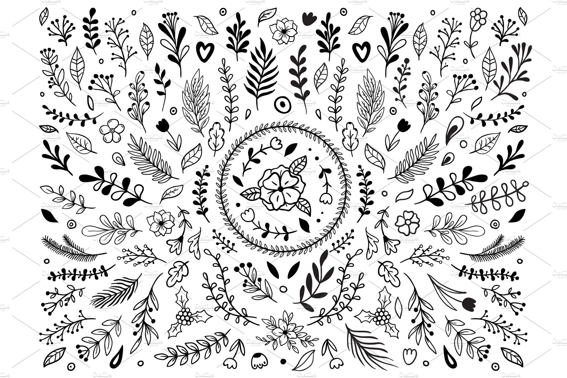 hand drawn flowers ornament pre designed vector graphics creative market hand drawn flowers ornament