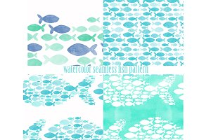 watercolor seamless sea fish