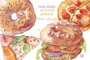 Watercolor bagels and pizza vector