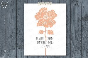 Peony inspiration quote print art