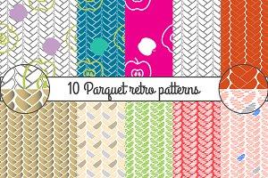 Retro parquet seamless patterns