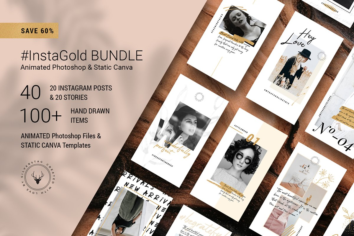PS & Canva #InstaGold Bundle 60% OFF