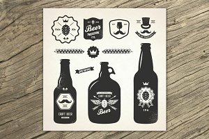 Craft brewery labels and elements.