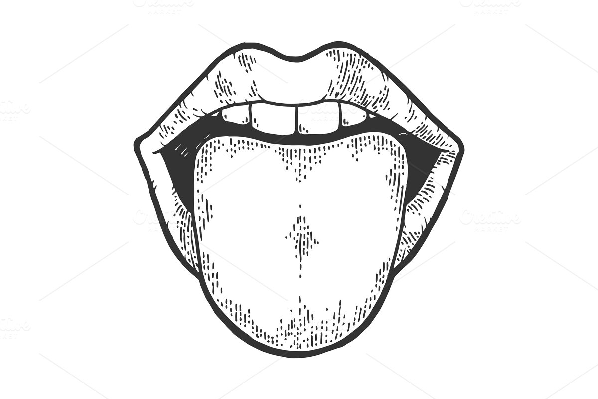 save  tongue showing from mouth sketch