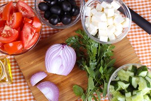 Products for the Greek salad