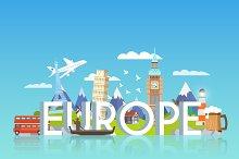 Travel Banner. Europe