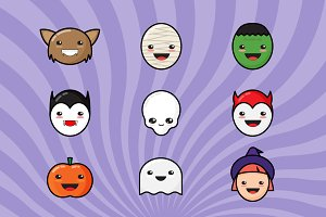 9 Сute Kawaii Halloween Icons