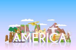Travel Banner. America.