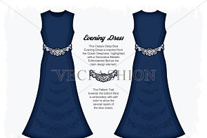 Women Deep Blue Evening Dress