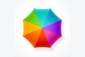 Autumn Umbrella Rainbow. Vector