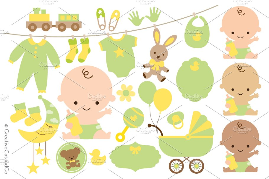 Neutral Gender Baby Shower And Png Illustrations Creative Market