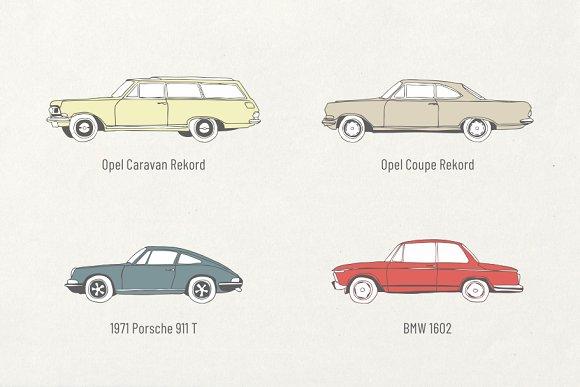 10 German Vintage Cars Vector + Font