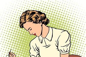 woman sews shirt thread housewife