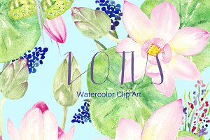 Lotus. Watercolor Clip Art.
