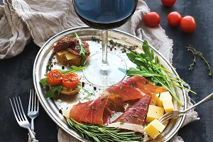 Wine appetizer set.