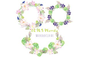Lotus wreaths. Watercolor Clipart.