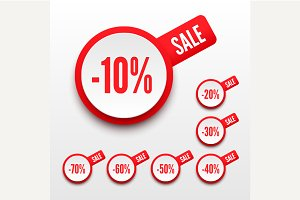 3D sale percents. Sale tags