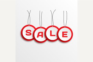 3d Sale tags. Vector.