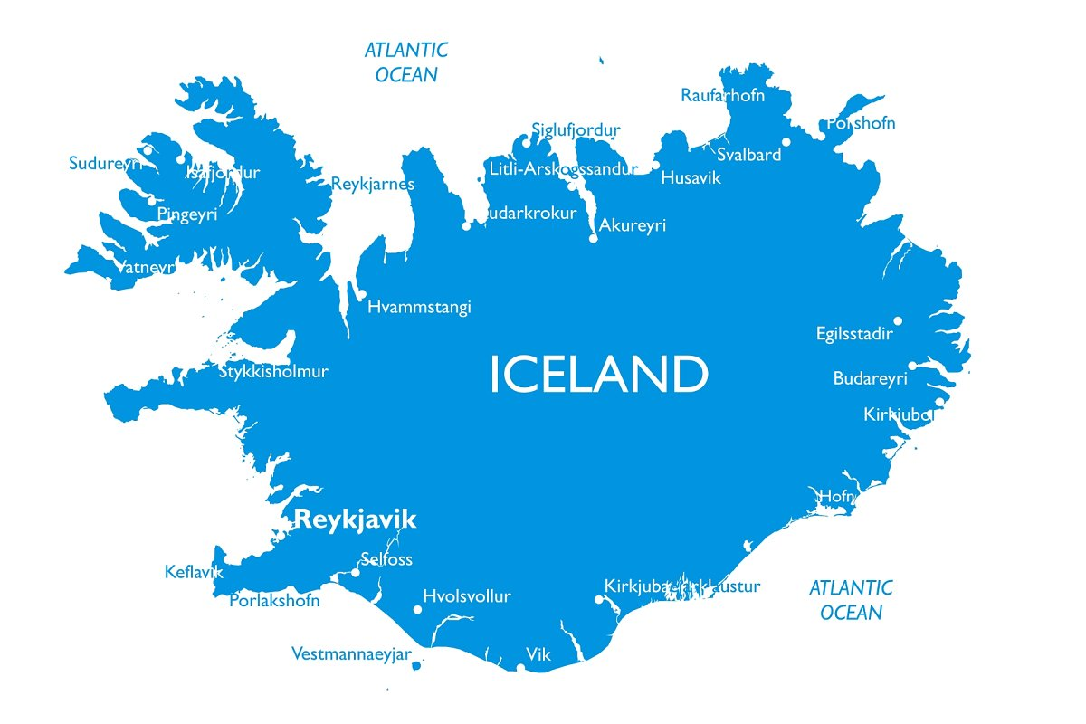 Vector map of Iceland