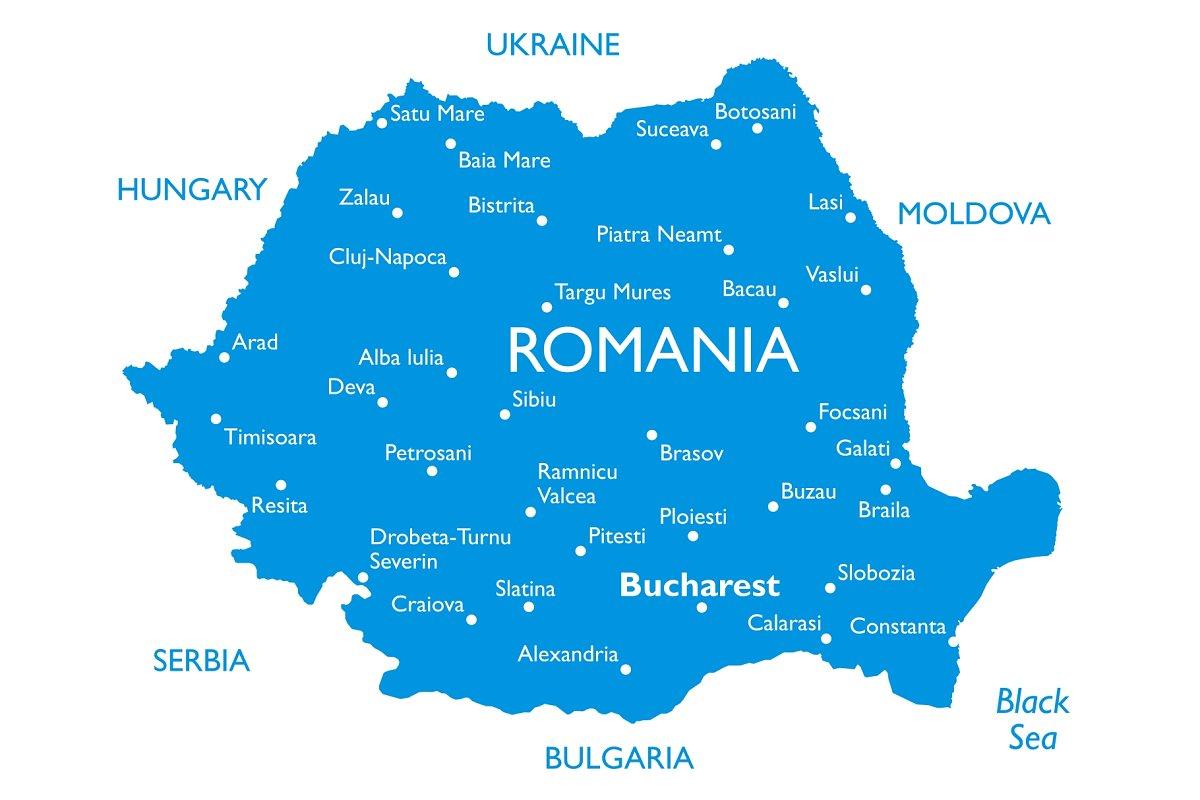 Vector map of Romania ~ Illustrations ~ Creative Market on
